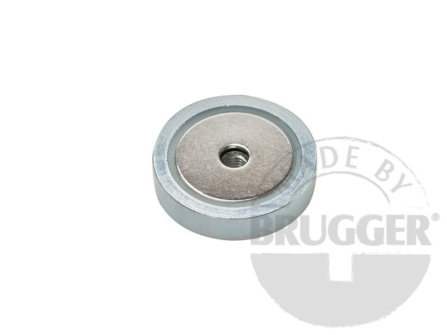 Flat pot magnets of NdFeB, with with internal thread